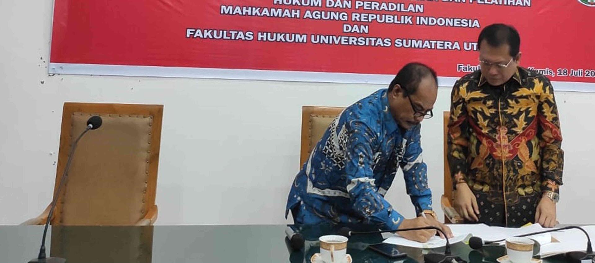 توقيع تعاون بين هيئة أبحاث المحكمة العليا الإندونيسية وكلية الحقوق ، جامعة شمال سومطرة