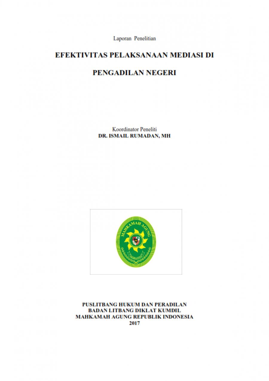 Efektifitas Pelaksanaan Mediasi Di Pengadilan Negeri